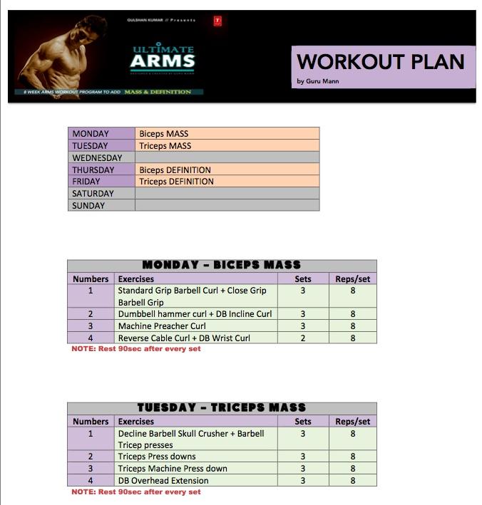 Workout Calendar By Guru Mann : Guru mann ultimatearms workout calendar